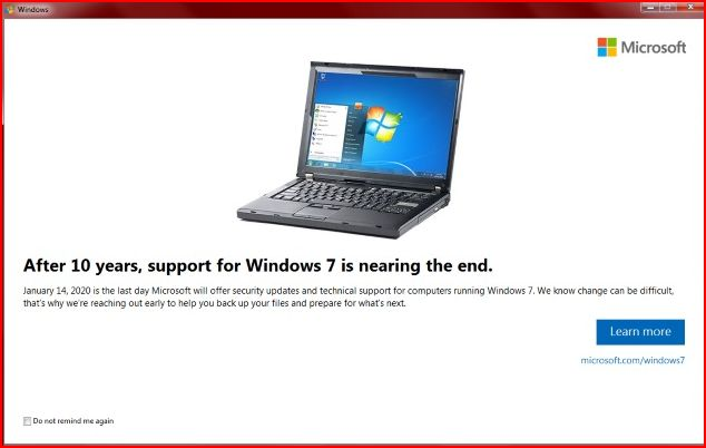 Windows 7 Impending End of Support